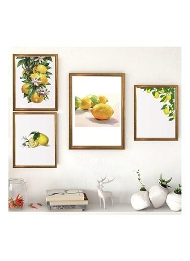 Lyn Home & Decor Limon Seri Çerçeveli Poster 4 Lü Tablo 1 Adet 23,5X33,5 3 Adet 17,5X23,5 Sarı